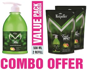 Mistpoffer Fresh Impact Antibacterial Perfumed Liquid Handwash with Citrus & Cedarwood 500 ml+2 Refill Pack 185 ml Combo Value Offer Pack of 3
