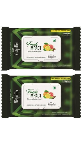 Mistpoffer Fresh Impact Facial Cleansing & Refreshing with Citrus & Cedarwood Wet Wipes Combo Offer (30 wipes) Pack of 2