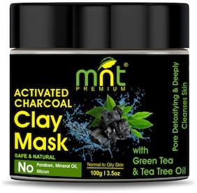 MNT Activated Charcoal Clay Mask with Green Tea & Tea Tree Oil for All Skin Types |Pore Detoxifying & Deeply Cleanses Skin;100g