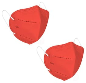 Modesty N95 4 Layer Reusable Face Mask Red (Pack of 2)