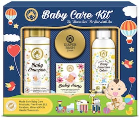 Mom & World Baby Care Collection Gift Pack - Baby Shampoo-200ml + Baby Soap-125gm + Baby Sunscreen Lotion-120ml + Diaper Rash Cream-50gm(Pack of 4)