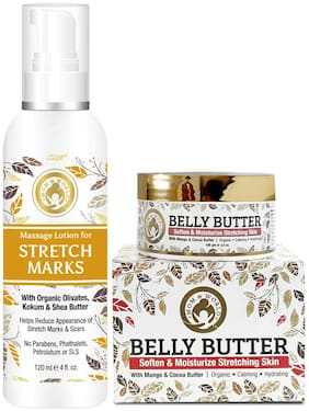 Mom & World Moisturizing Care Stretch Marks Lotion 120ml + Belly Butter 100g (Pack Of 2)