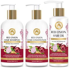 Mom & World Red Onion Hair Shampoo 300ml, Hair Conditioner 300ml, Hair Oil 200ml (Pack of 3)