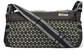 MomLyf Mia Brown and Green Printed Polyester Diaper Bag with Changing Mat and Bottle Cover (Pack of 1)