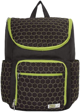 MOMLyf Noah Black circled Polyester Diaper Backpack with Changing Mat (Pack of 1)