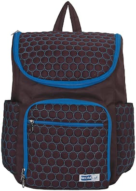 MOMLyf Noah Brown circled Polyester Diaper Backpack with Changing Mat (Pack of 1)