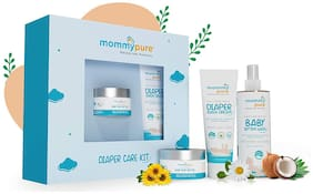MommyPure Baby Diaper Care Kit  Soothe & Refresh Baby Bottom Wash 140ml, Happy Bummies Baby Bum Butter 50g,The Caring Touch Diaper Rash Cream 50g,Window Gift Box