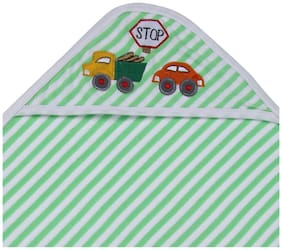 MomToBe Green Stripes Hooded Terry Cotton Baby Towel
