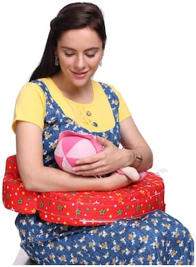 MomToBe Red Feeding Pillow / Nursing Pillow- HD Foam 100% Cotton Fabric, Star Print