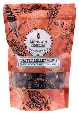 Monsoon Harvest Toasted Millet Muesli - Dark Chocolate And Orange Peel 250 gm