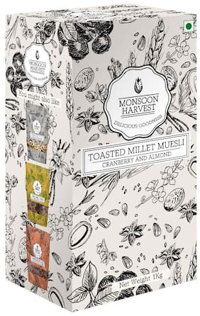 Monsoon Harvest Toasted Millet Muesli Breakfast Cereal - Cranberry & Almond 1 kg