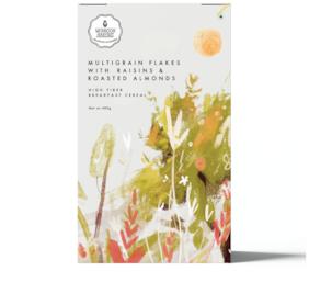 Monsoon Harvest High Fiber Breakfast Cereal Multigrain Flakes With Raisins & Roasted Almonds 400g (Pack Of 1)
