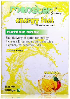 Monster Series Energy Fuel, 1 kg, Mango Flavor, ISOTONIC, Energy Booster Drink, Dope Free, FSSAI Certified.