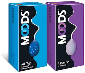 Moods Combo Pack of Allnight and Ultrathin Condoms Pack of 2 (12 Pcs Each)