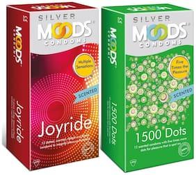 Moods Silver 1500 Dots 12's + Moods Silver Joyride 12's Condoms