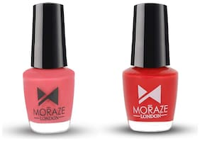 Moraze Paint Your Own Rainbow Nail Polish Combo   Nail Enamel Combo   Red and Candy Pink   Nail Paint   Vegan Nail Polish   for Women and Girls   Pack of 2   5 ML Each