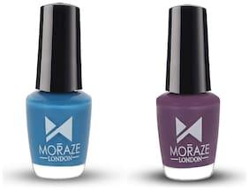 Moraze Paint Your Own Rainbow Nail Polish Combo | Pack of 2 Nail Enamel | Purple and Blue | Vegan Nail Paints | Long Lasting Nail Polish | Quick Dry | No Toxins | 5 ML Each