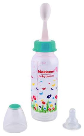 Morisons Baby Dreams PP Feeding Bottle With Spoon - Green 250 ml