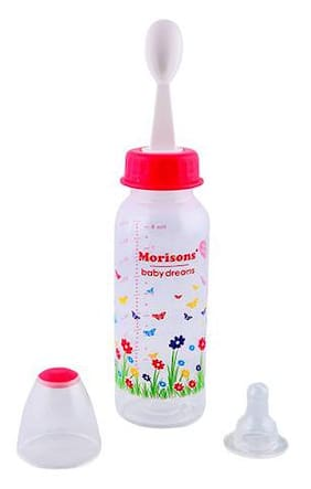 Morisons Baby Dreams PP Feeding Bottle With Spoon - Pink 1 pc