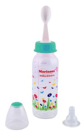 Morisons Baby Dreams PP Feeding Bottle With Spoon - Green 250 ml