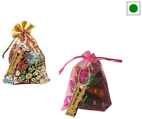 MoShik's White Candy Fruit And Apricot Homemade Chocolate Pouch-Pack of 2(100 gx2)