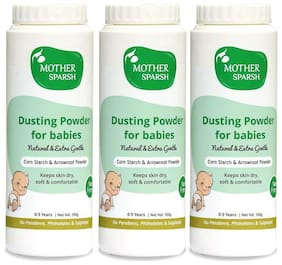 Mother Sparsh Talc-Free Natural Dusting Powder for Babies 100 g (Pack of 3)