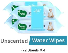 Mother Sparsh Unscented 99% Water 72 Baby Wipes (Pack of 4)