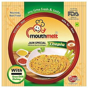 Mouthmelt Jain Special Soft Thepla (Ready to Eat,Rosted,Not Fried) (Without Garlic & Jinger) 400g (200g x 2 Packets)