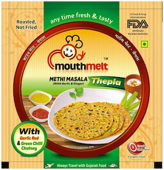 Mouthmelt Methi Masala Soft Thepla (Ready to Eat,Rosted,Not Fried) (with Garlic & Jinger) 400g (200g x 2 Packets)