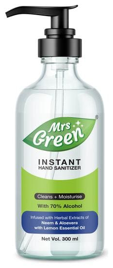 Mrs Green 70% Alcohol Based Hand Sanitizer infused with Herbal extracts of Neem & Aloevera - 300ml