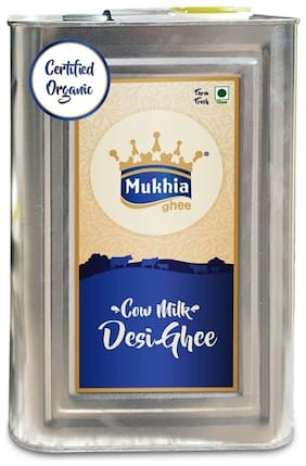 Mukhia Cow Desi- Certified Organic Ghee, Organic Grass-Fed Ghee from Untouched Raw Cow Milk Directly from Mukhi Dairy Farm. (5 Litre)