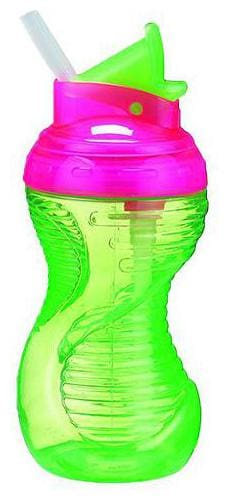 Munchkin Mighty Grip Flip Straw Sipper Bottle - Green  12 m+ 295 ml
