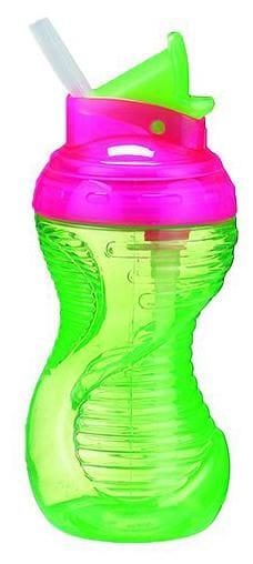 Munchkin Mighty Grip Flip Straw Sipper Bottle - Green  12 m+ 295 ml