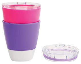 Munchkin Milk Glass & Trainer Lids - Pink & Purple 207 ml