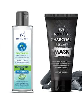 Murdock Neem & Aloevera Hand Sanitizer 100ml 70% Alcohol & Charcoal Peel Off Mask 60g (Pack of2)
