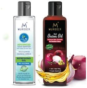 Murdock Neem & Aloevera Hand Sanitizer 100ml 70% Alcohol & Murdock Red Onion Hair Oil 100ml (Pack of 2)
