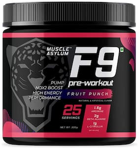 Muscle Asylum F9 PreWorkout 25 Servings/200g Fruit Punch (Pack Of 1)