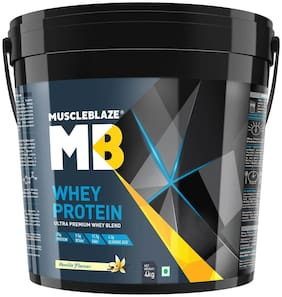 Muscleblaze 100% Whey Protein Supplement Powder - 4 kg / 8.8 lb (Vanilla)