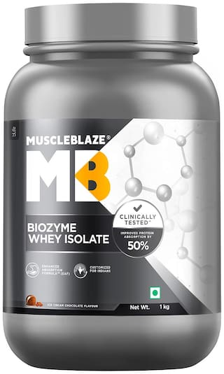 MuscleBlaze Biozyme Whey Isolate, 2.2 lb/ 1 kg Ice Cream Chocolate Pack of 1
