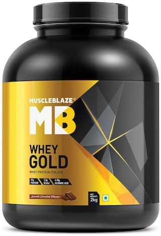 MuscleBlaze Whey Gold 100% Whey Protein Isolate (Smooth Chocolate,2 kg / 4.4 lb)
