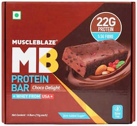 Muscleblaze Mb Protein Bar (22 g Protein) 72 g - Chocolate Delight (Pack of 6)