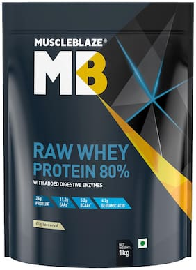 Muscleblaze Raw Whey Protein powder 80% 2.2 Lb/1 kg - Unflavored