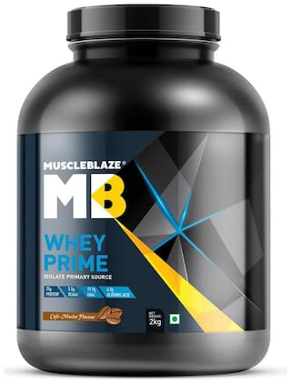 MuscleBlaze 80% Whey Prime Protein (Cafe Mocha  2 Kg / 4.4 lb)  Whey Protein Isolate as primary source for Lean Muscle Gain (Pack of 1)
