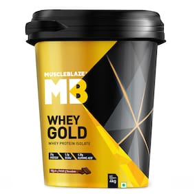 MuscleBlaze Whey Gold 100% Whey Protein Isolate (Rich Milk Chocolate, 4 kg, 8.8 lb)