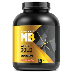 MuscleBlaze Whey Gold Protein Isolate;2 kg / 4.4 lb (Strawberry Shake)