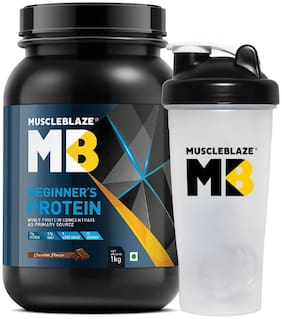 MuscleBlaze Beginner's Whey Protein Supplement (Chocolate, 1 kg with Shaker) (Pack of 1)