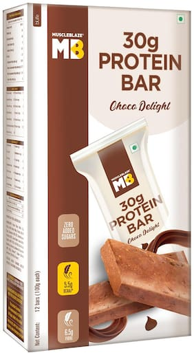 MuscleBlaze Protein Bar 30g protein Choco Delight 100g Each (Pack of 12)