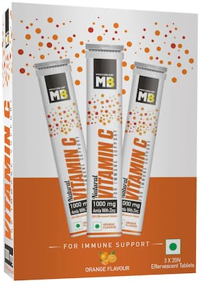 MuscleBlaze Natural Vitamin C with 1000mg Amla & Zinc,20 tablets each Orange (Pack Of 3)