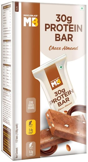 MuscleBlaze Protein Bar 30g Protein Choco Almond 100g Each (Pack of 12)