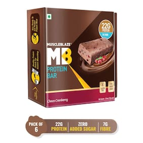 MuscleBlaze Protein Bar (22g Protein) 6 Pieces Choco Cranberry
